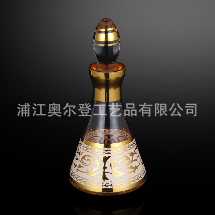 不褪色泥金画漆描金瓶玻璃香水瓶高档散装q版男士中东扁圆香水瓶