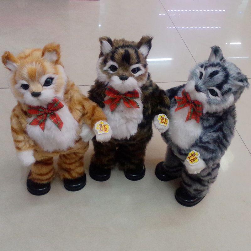 跨境电商货源电动毛绒玩具跳舞猫 玩具工厂仿真扭屁股唱歌跳舞猫