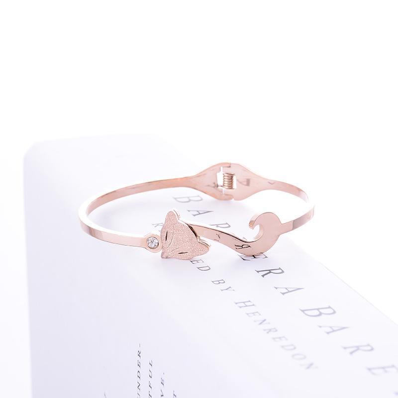 欧美韩版镀18K玫瑰金气质狐狸镯百搭潮女时尚钛钢饰品礼物