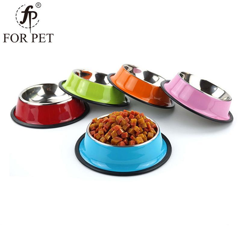沣沛彩色不锈钢狗猫碗 喷漆防滑宠物碗狗盆 彩色狗碗宠物用品批发