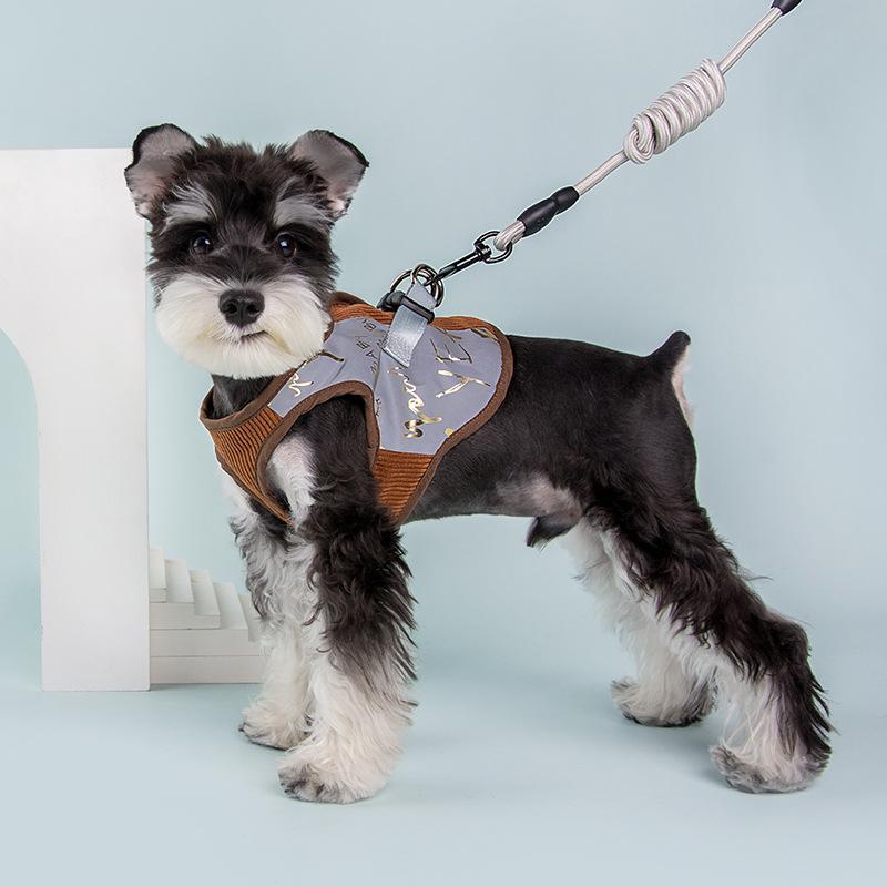 2021冬季新款羊羔绒加厚宠物胸背带 宠物狗狗反光遛狗安全绳 一件代发
