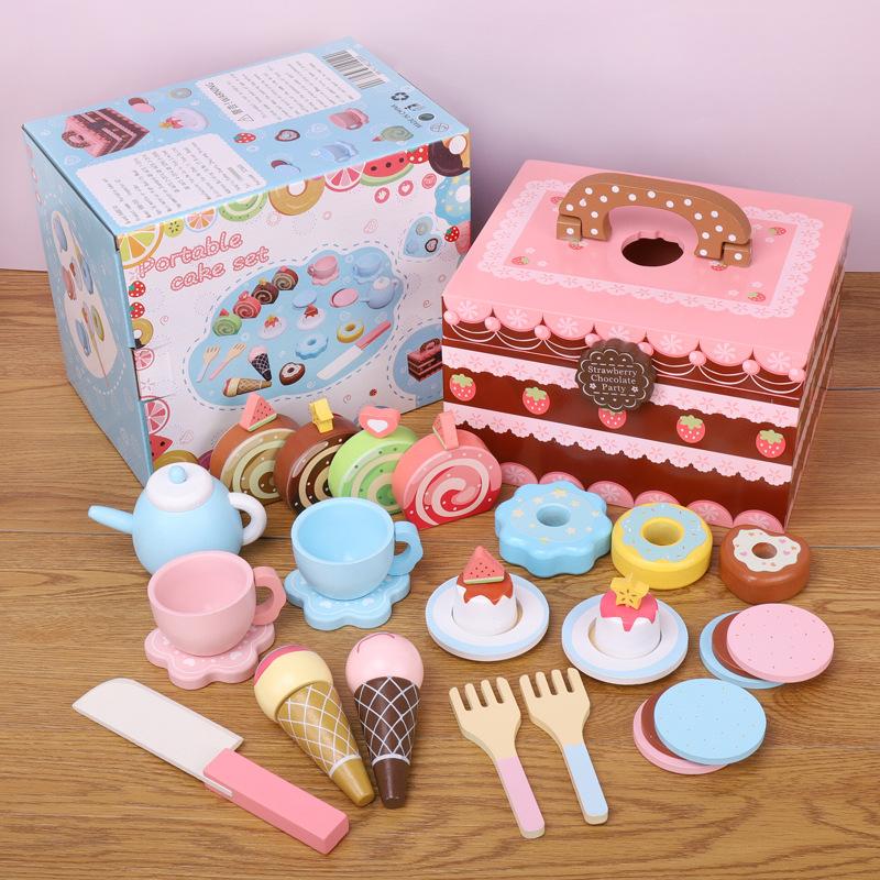 女孩过家家玩具 仿真糖果蛋糕魔术贴切切乐木制迷你厨房套装组合