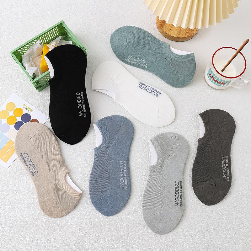 2021春夏新款纯色网眼船袜 男士短袜休闲隐形袜子