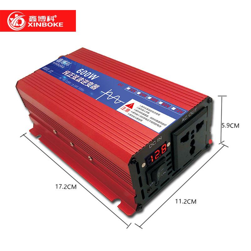 厂家直供12V24V48V60V转220V600W1000W纯正弦波逆变器车载太阳能