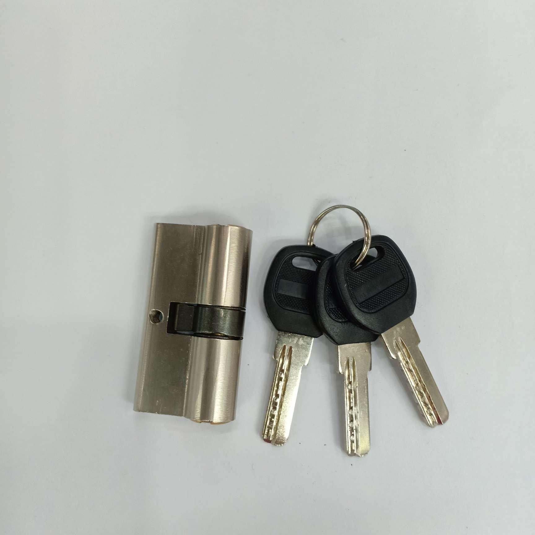 【方圆锁业】60铁锁胆防盗门锁锁芯铁锁胆铜芯3个铁钥匙
