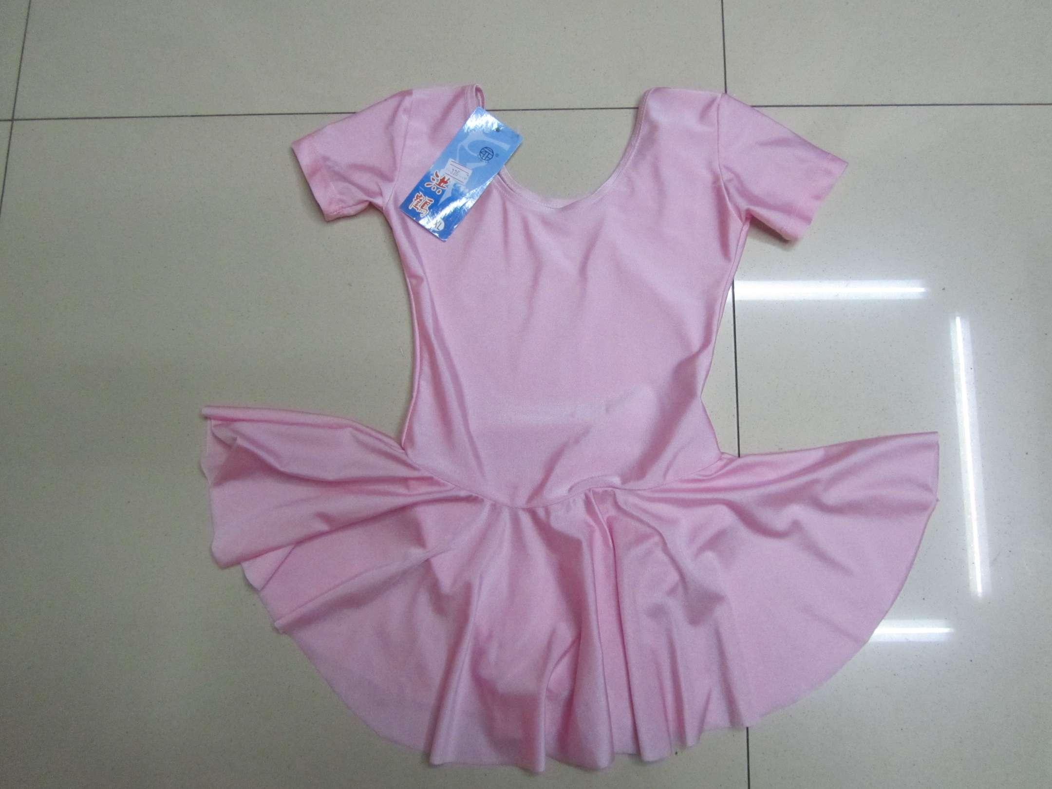326#热销儿童氨纶短袖带裙舞蹈服练功服形体服