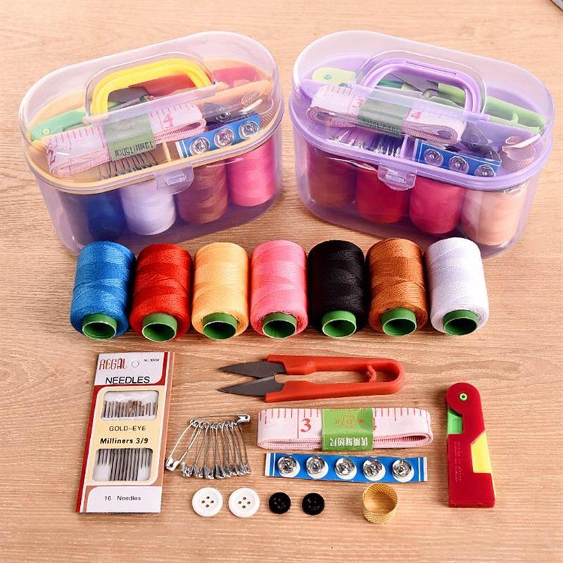 家用针线盒套装工具收纳盒便携式手提缝纫工具10件套针线包缝补