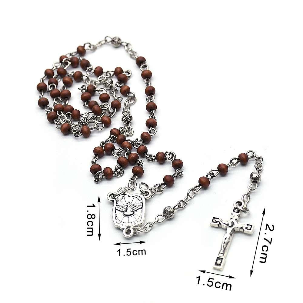 和平鸽迷你木珠玫瑰念珠项链基督十字架宗教礼品赠品
