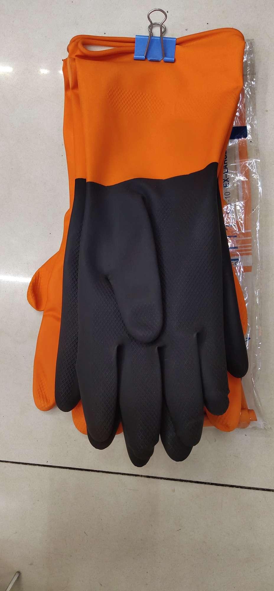 专业供应黑桔双色乳胶工业手套 乳胶劳保手套