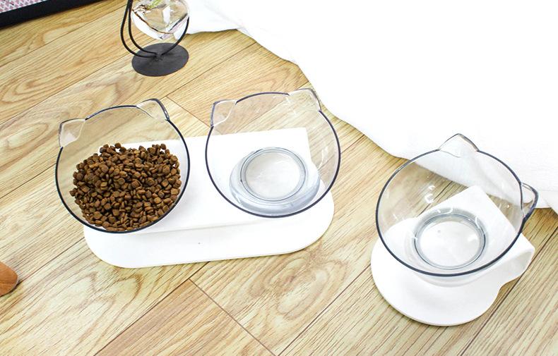 猫碗透明双碗猫粮碗猫食盆猫碗架狗碗狗粮盆斜口护颈椎