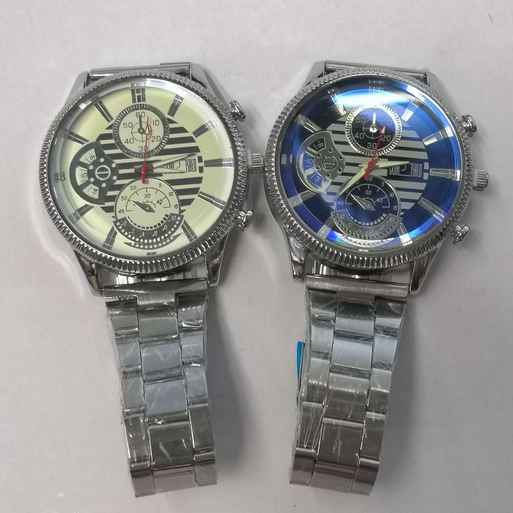 黑白面男士大表盘大光边时装手表铁带手表石英表潮流手表