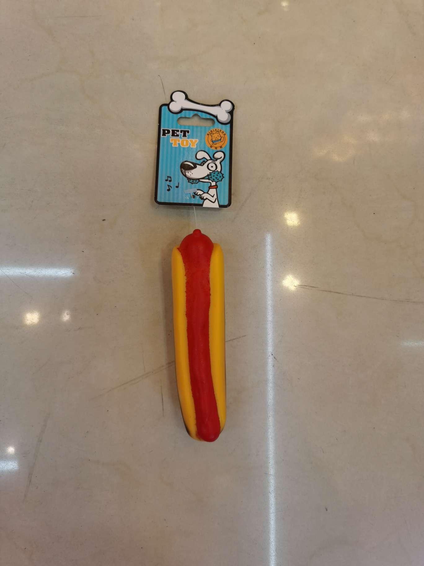 厂家直销 搪胶玩具 捏响玩具 PVC 宠物热狗