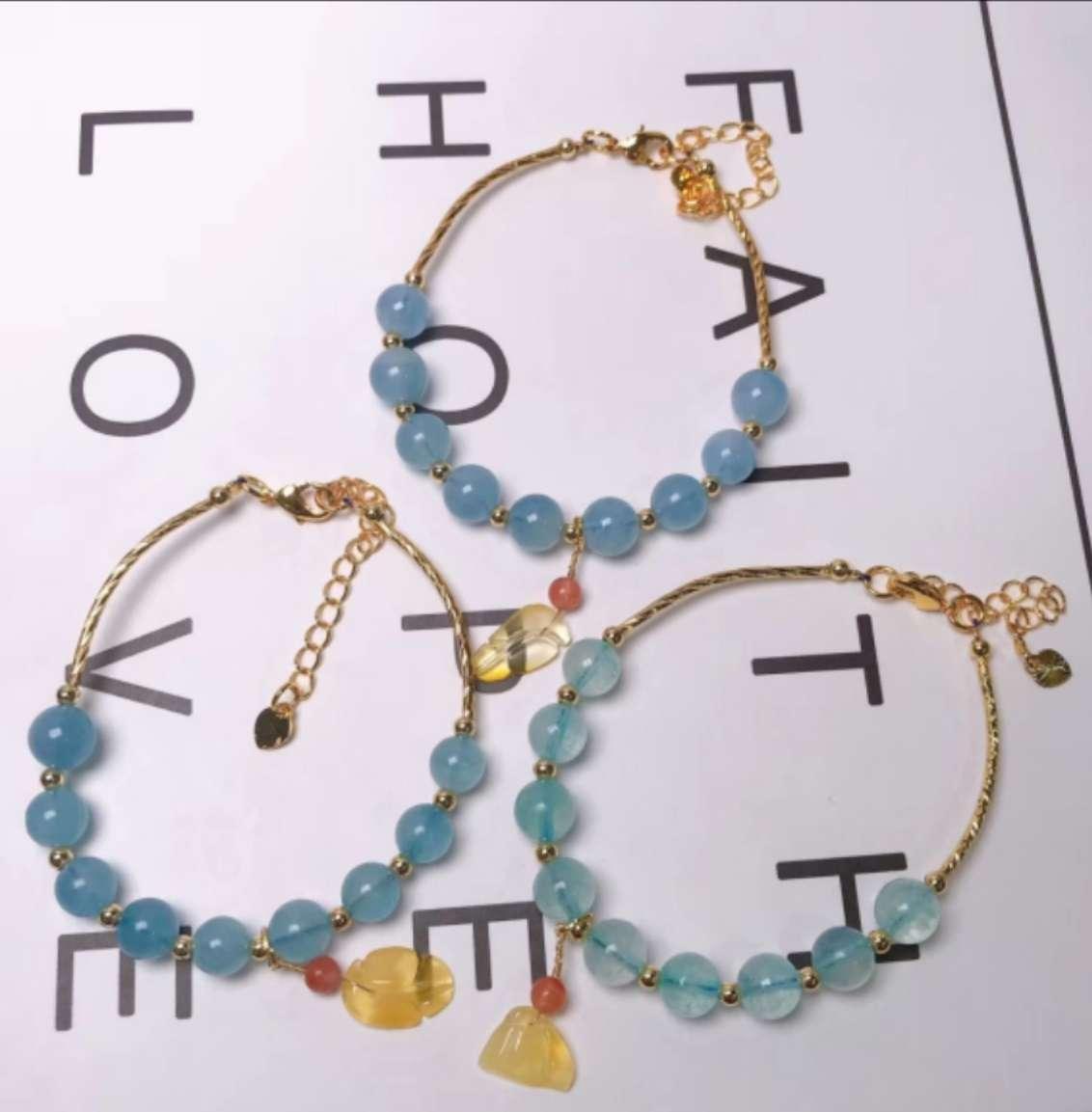 天然海蓝宝手链