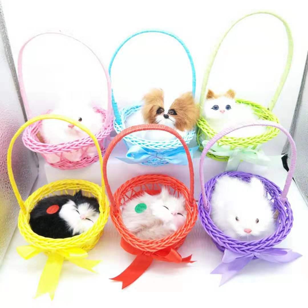 彩色篮子猫 仿真猫仿真狗 提蓝仿真小动物仿真小白兔景区热卖商品