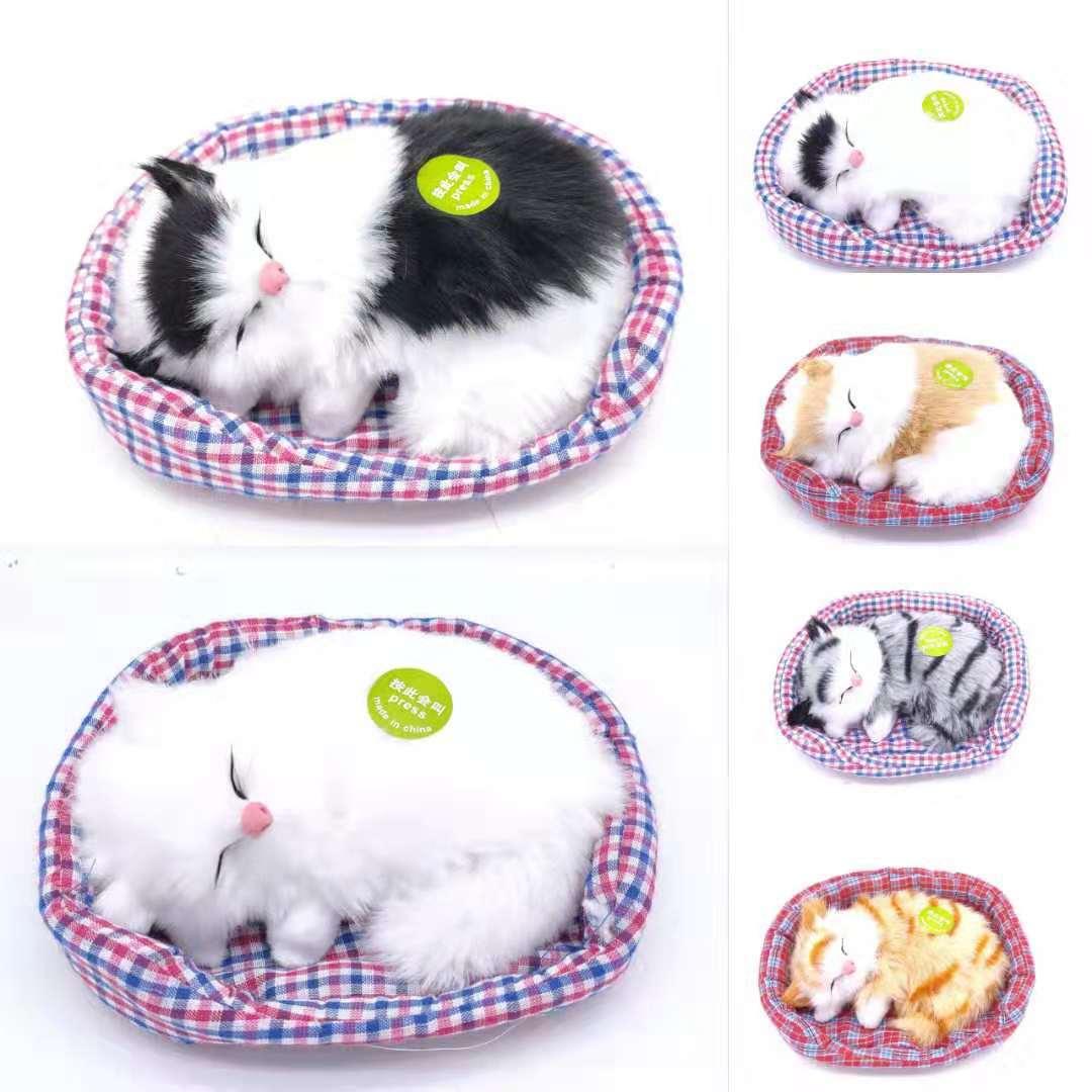 仿真布垫声控睡猫仿真猫咪玩具布垫猫咪厂家直销景区热卖玩具