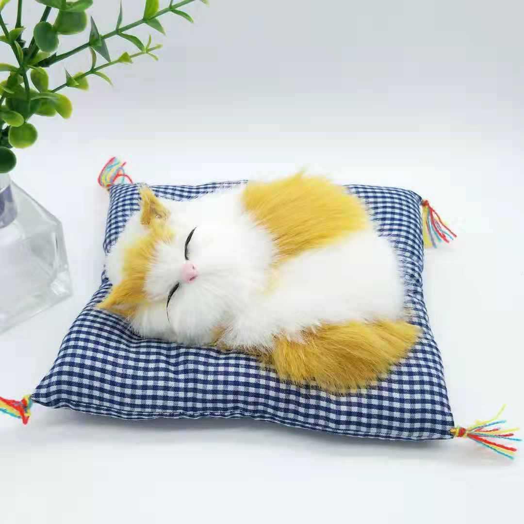 仿真布垫睡猫玩具声控布垫喵喵叫布垫睡猫景区热卖特色商品仿真猫
