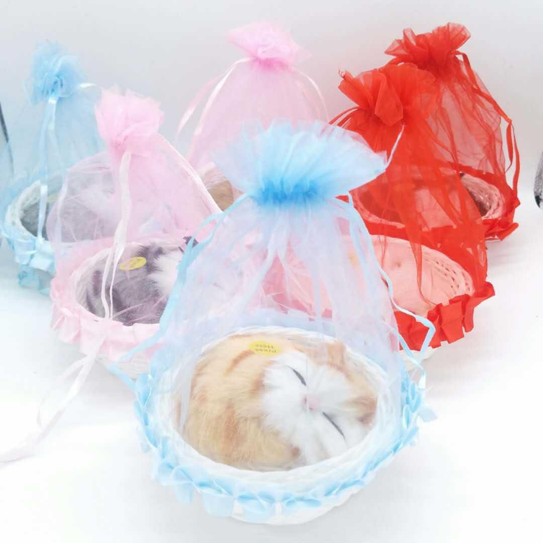 纱帐小睡猫生日礼物送闺蜜仿真猫咪玩具特色景区玩具