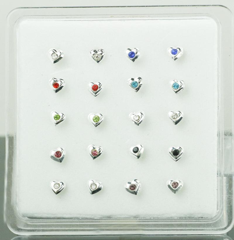 S925银 彩色水钻心形鼻钉 爱心人体穿刺 20个盒装