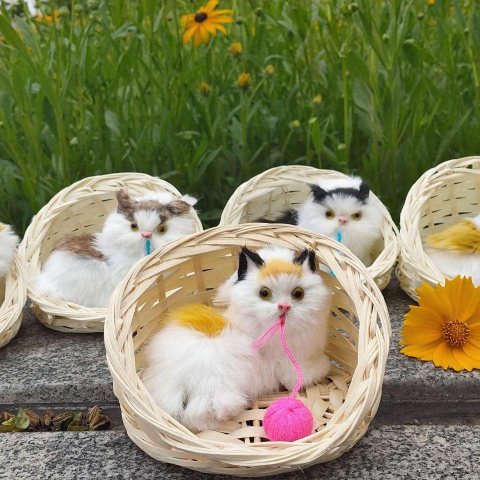 景区热卖商品毛线仿真猫 仿真猫咪 编织筐仿真猫厂家直销仿真动物