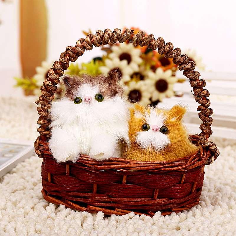 爆款仿真猫咪公仔玩具棕色吊蓝声控双猫景区热卖蓝子猫仿真猫咪
