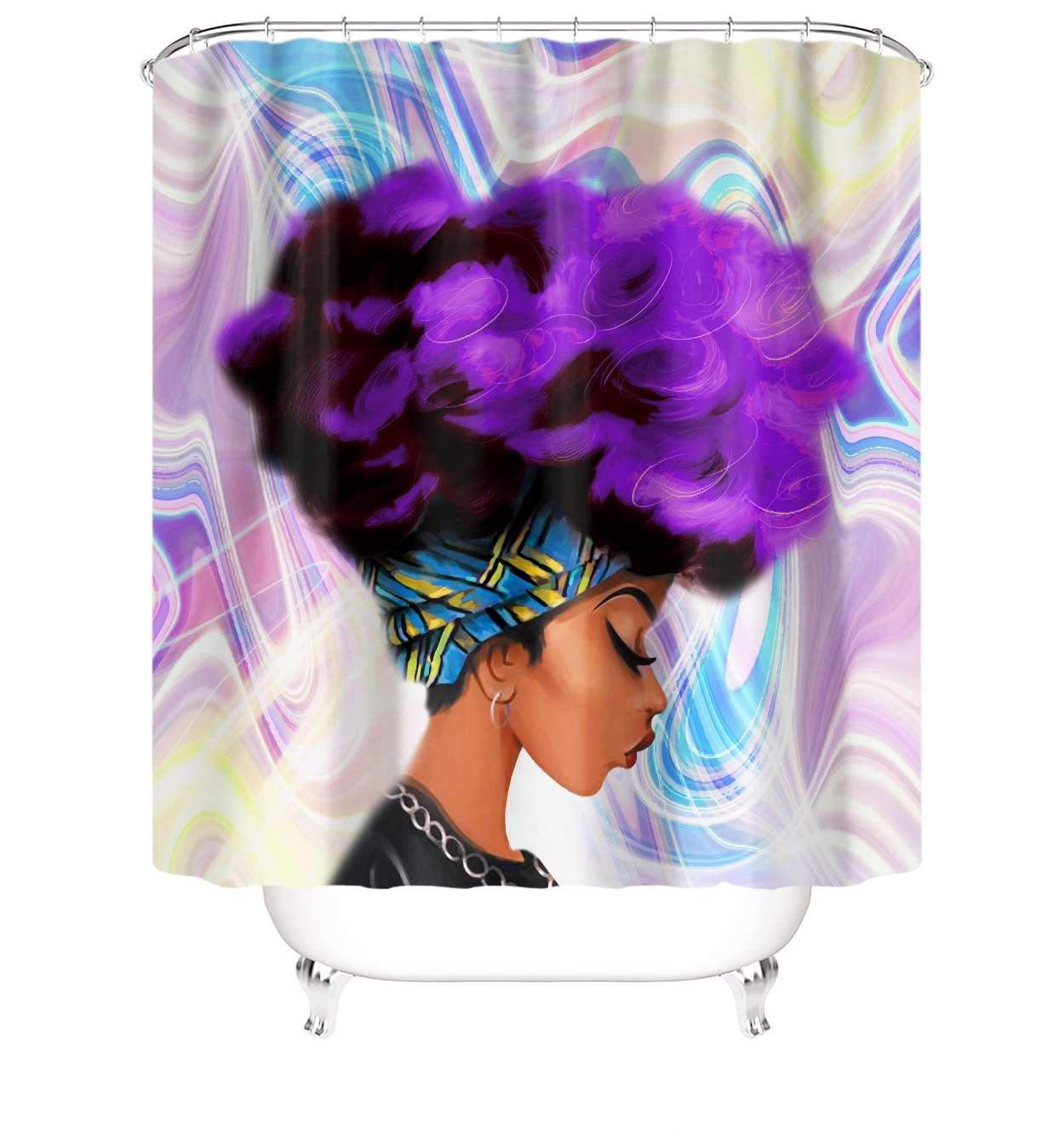 数码印花卫生间隔断防水浴帘可订制花型量大优惠