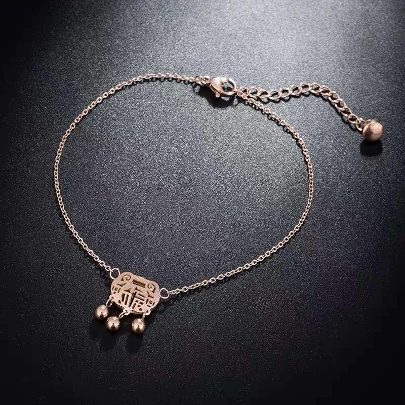 新款韩版创意福锁脚环女 镀玫瑰金长命锁脚链 女款爆款饰品