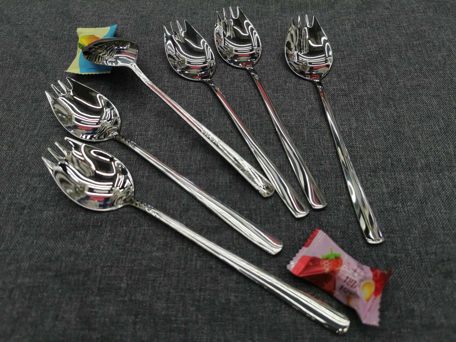 304不锈钢吃面神器伊面勺创意叉勺一体型吃面勺子叉子汤勺面勺