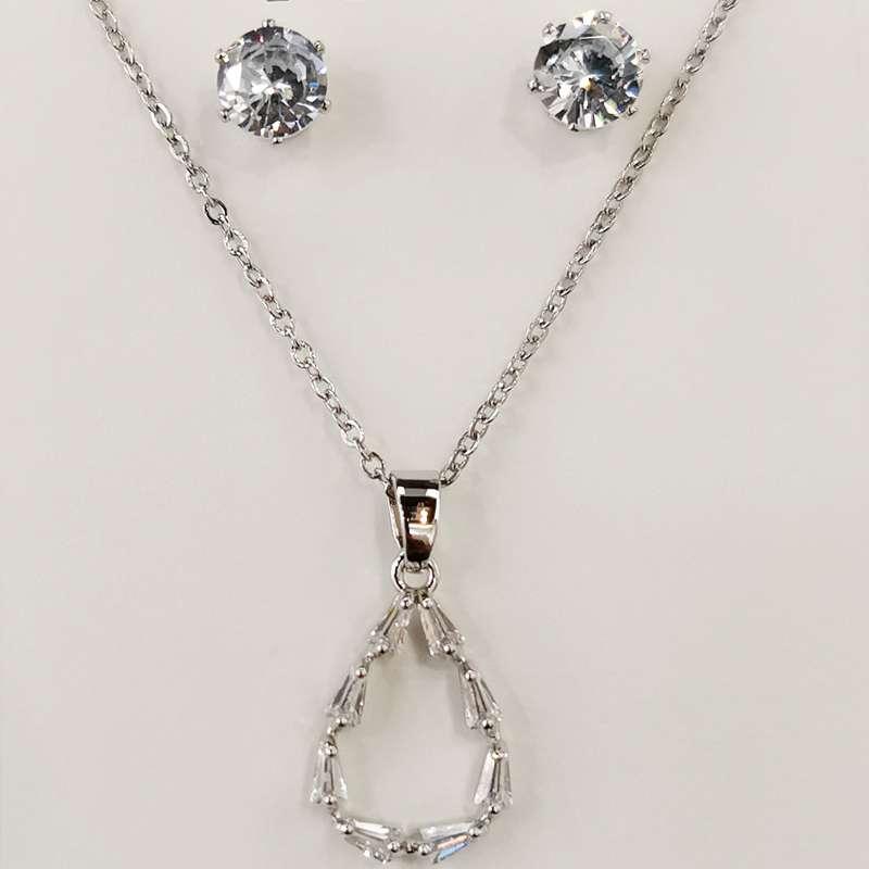 精品锆石项链锁骨链925银针耳钉钛钢链子不褪色1021