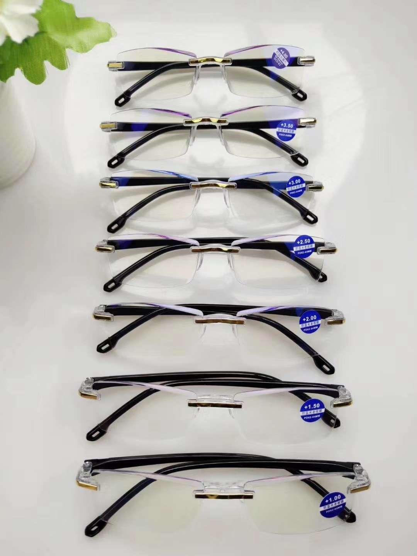 秀求眼镜23125店面男士无框切边防蓝光老花镜成品300度
