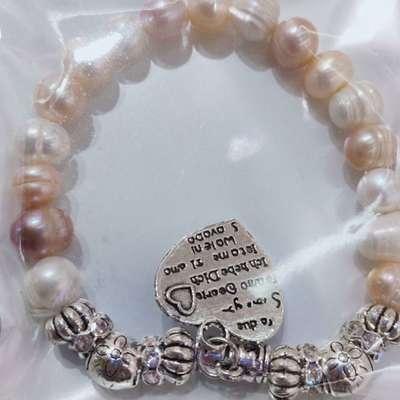 心形片挂坠彩色珍珠手链