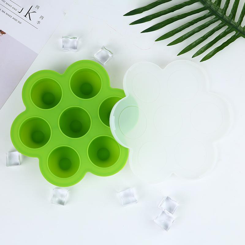 厂家批发食品级硅胶7孔大号冰块制冰盒带盖雪糕模具硅胶冰球模具