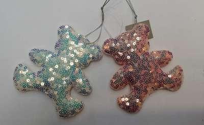 圣诞装饰七彩亮片小熊