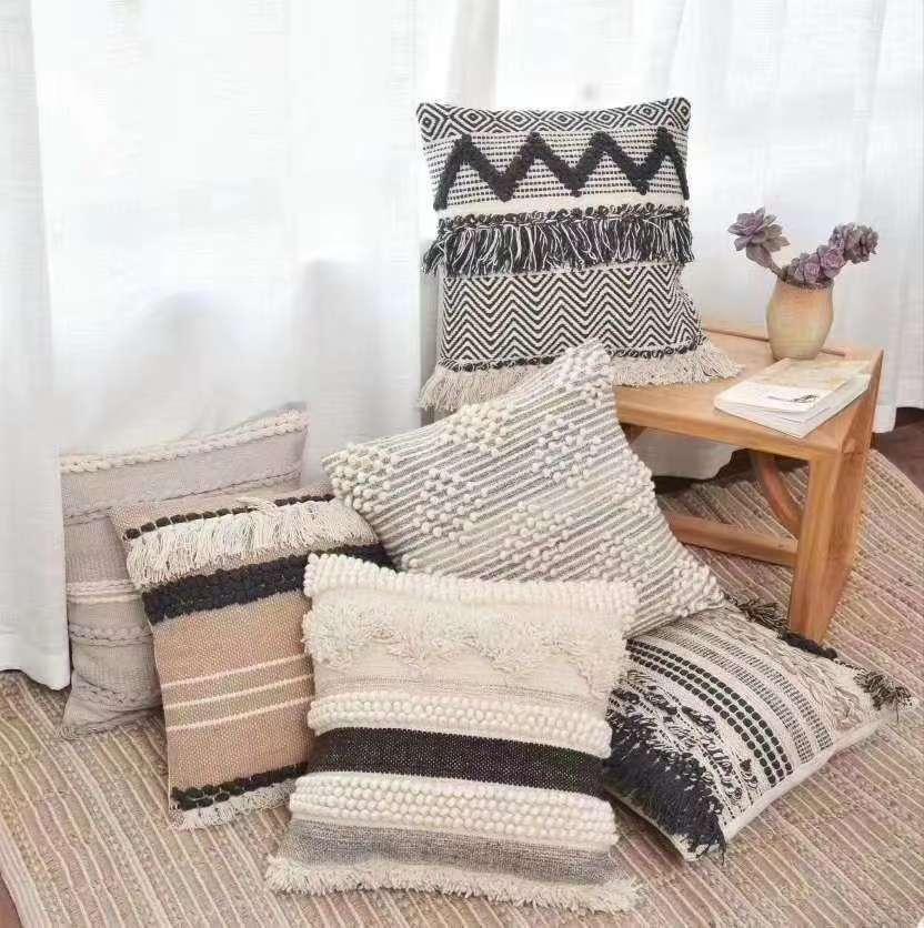 印度进口手工编织流苏抱枕北欧风摩洛哥风新中式家居软装民宿