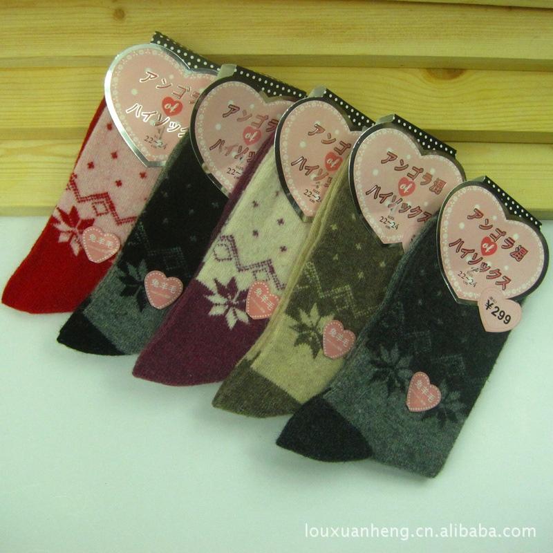 新款羊毛袜 义乌袜子批发 八角花中筒女袜 加厚兔羊毛保暖袜