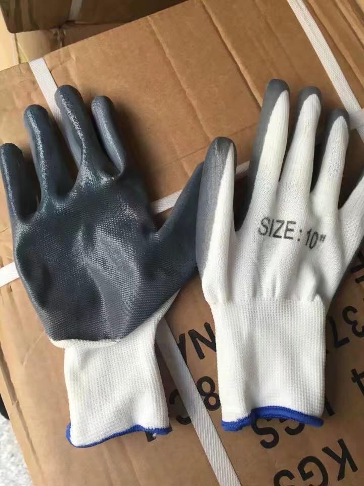 劳保防护手套 白纱灰丁青手套 工地劳保手套