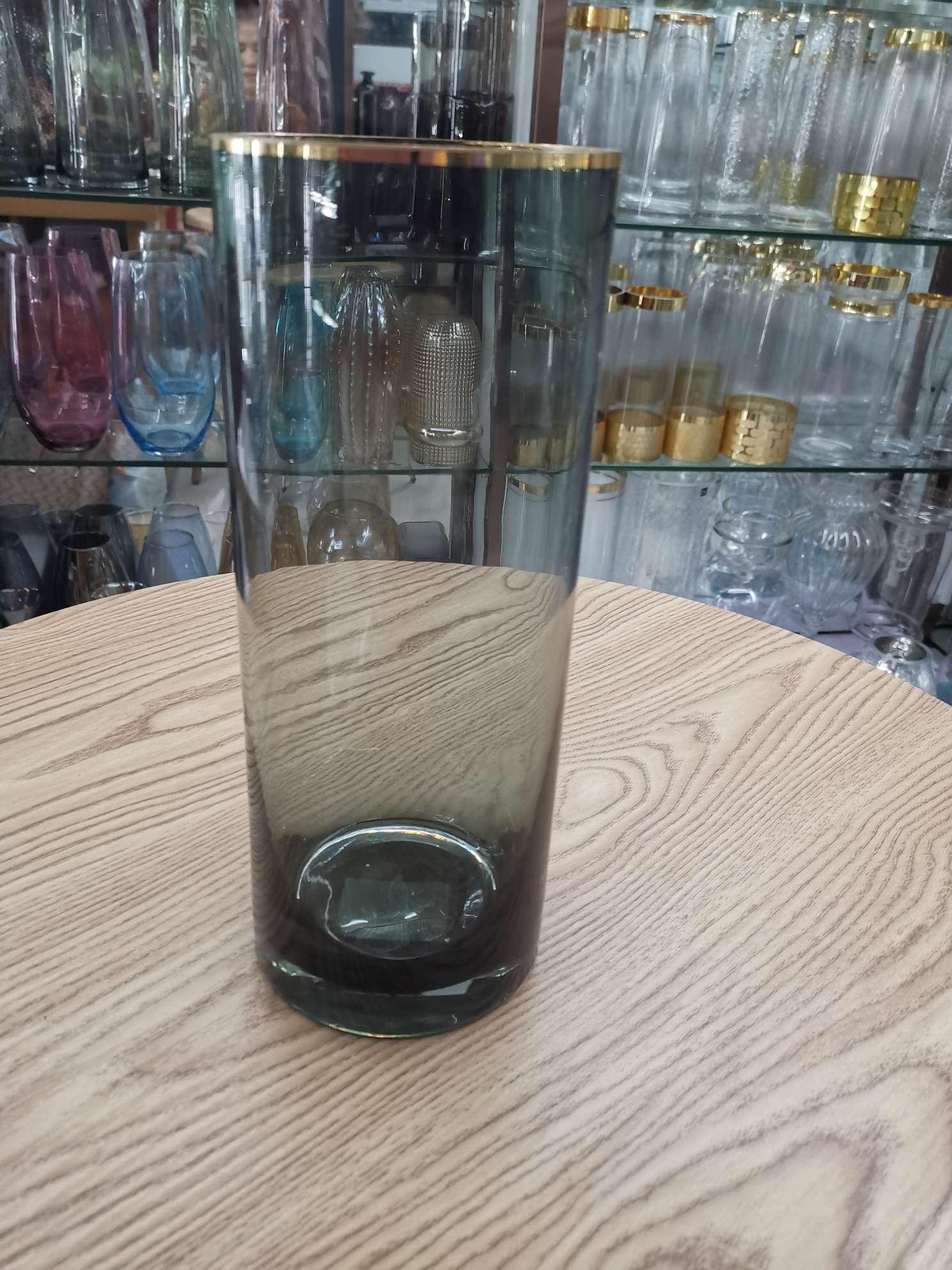 清新色料手工吹制手工描金边的桌上摆件花瓶(批发)