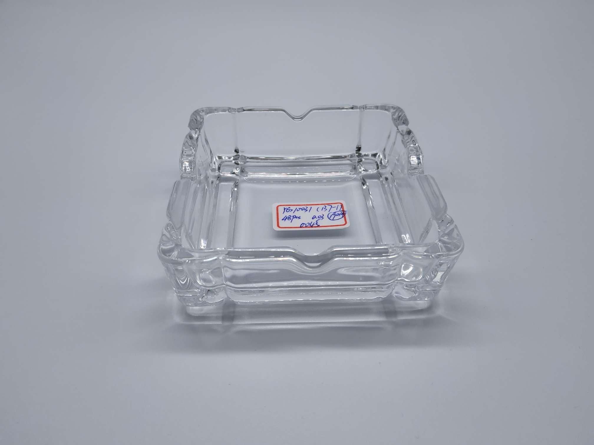 义乌好货惠达玻璃10*10cm竖条简洁正方形烟灰缸,工艺品,礼品,酒店用品,酒吧包厢用品