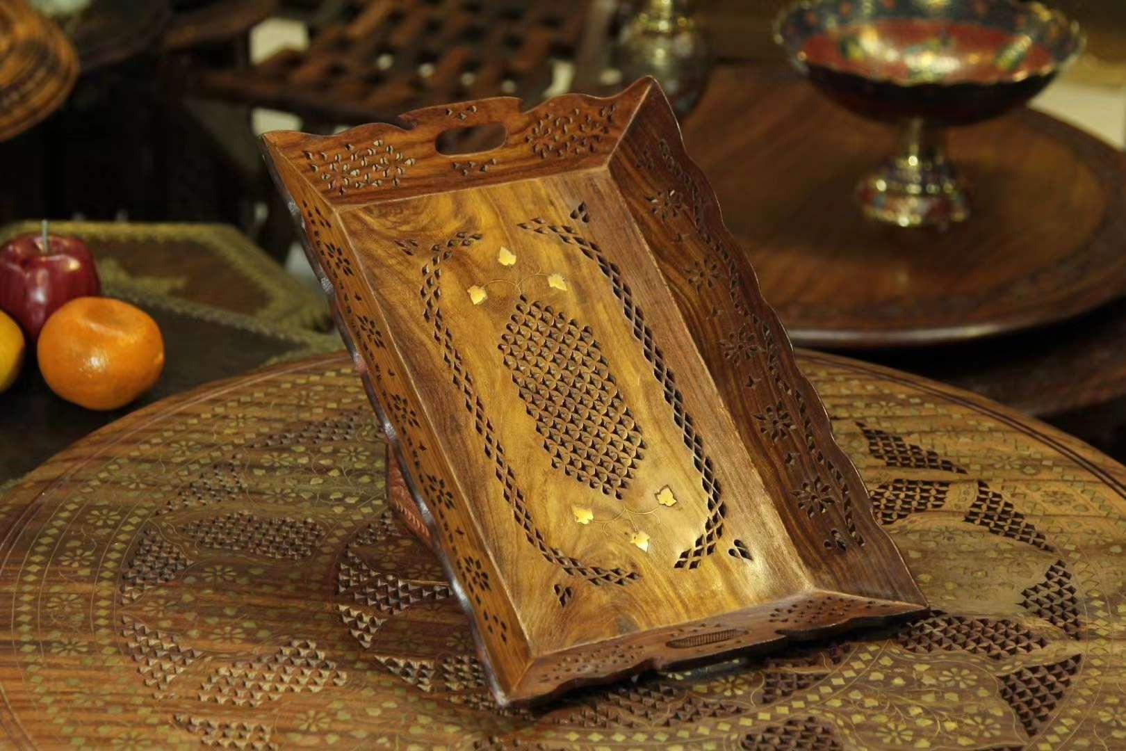 印度进口精美菩提木托盘实木透雕镶嵌铜片