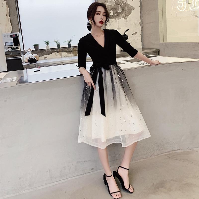 黑色小晚礼服裙女2020新款宴会高贵高端大气渐变平时可穿气质日常