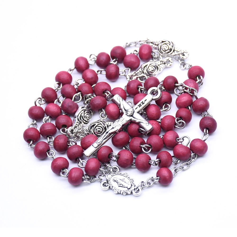 酒红色香味木珠玫瑰念珠项链圣母玛丽亚十字架宗教祈祷珠饰品礼品赠品