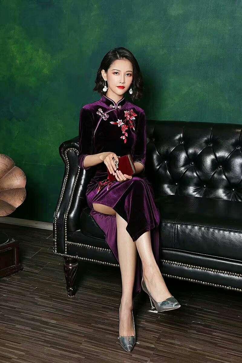 紫罗兰长款旗袍改良版旗袍2021年夏季新款日常可穿民国风少女年轻款连衣裙中长款清新百搭休闲秀