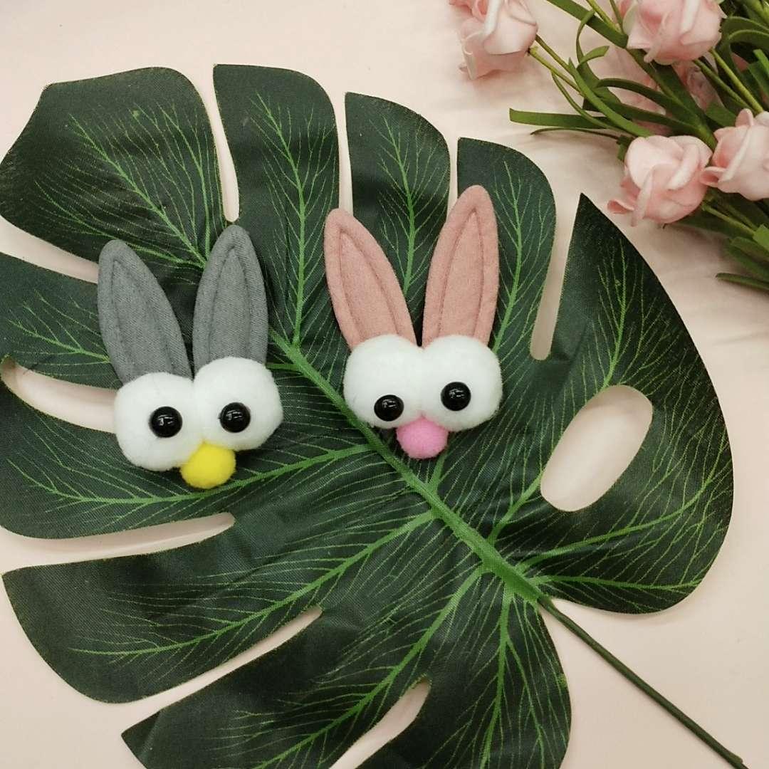 可爱兔耳朵大眼睛高弹毛球 儿童diy服装头饰包包     可爱兔耳朵大眼睛高弹毛球 儿童diy服装头饰包包配件 厂家直销