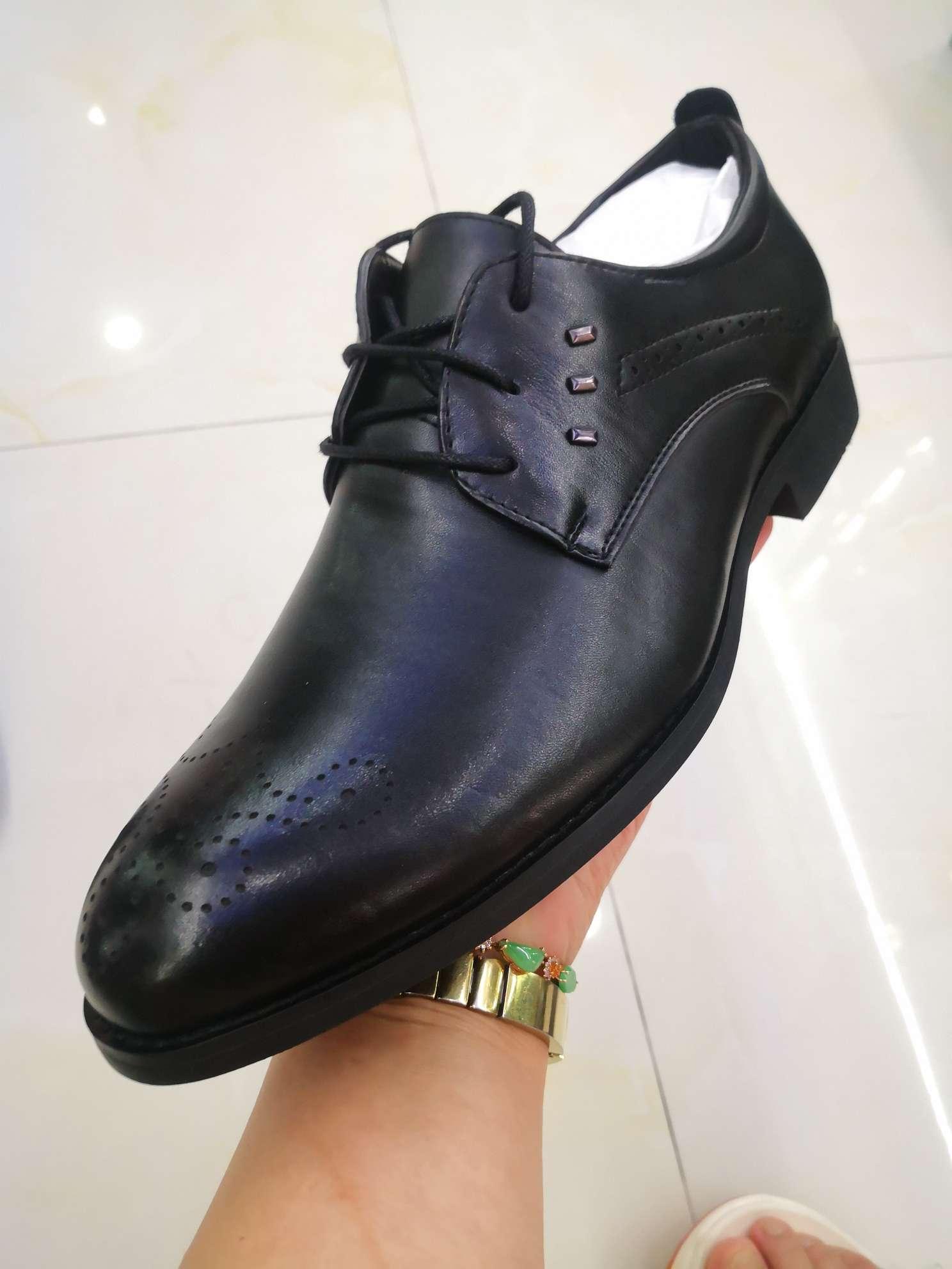 外贸原单库存现货欧美款式男鞋皮鞋男真皮系带商务休闲布洛克欧版尖头鞋子
