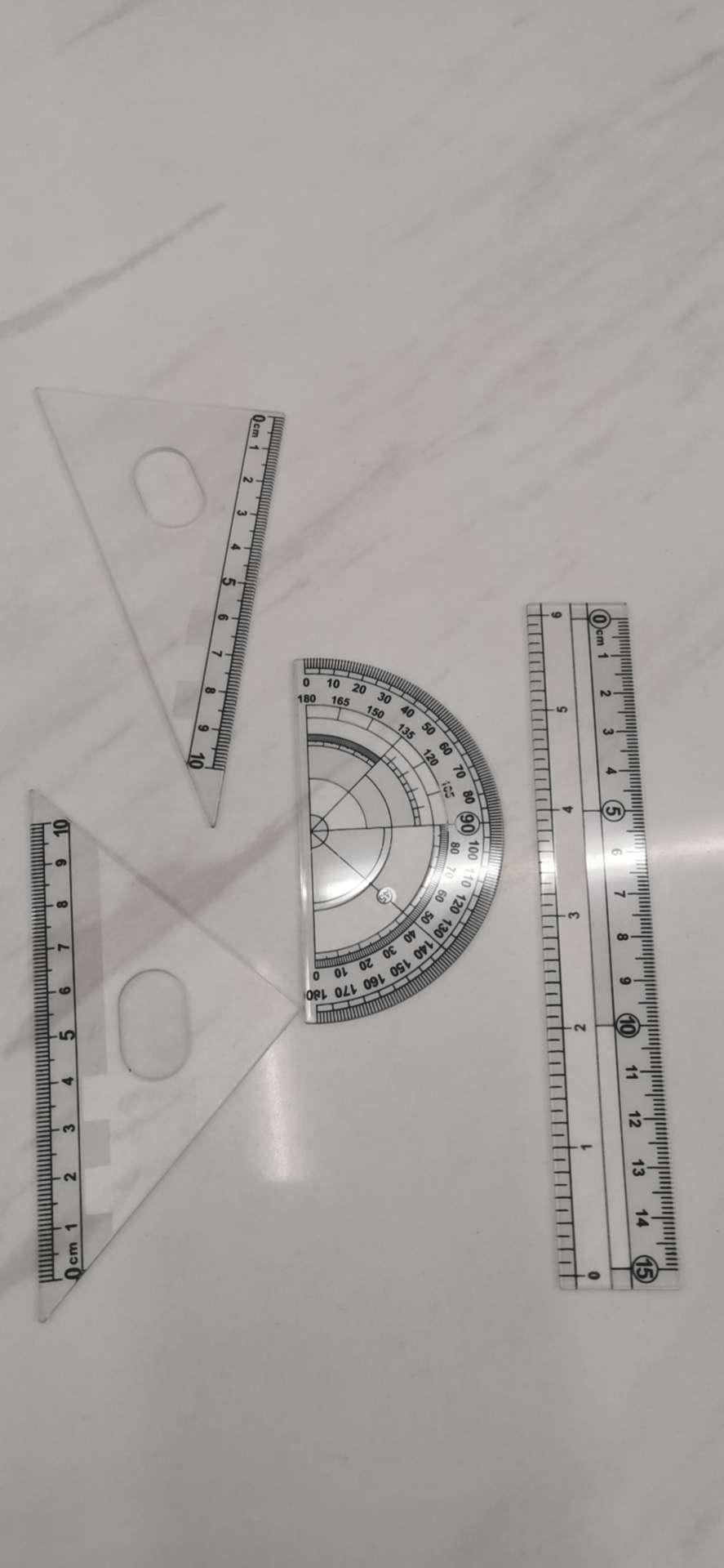 4件套组合文具用品尺子绘图尺子三角板量角器尺子塑料尺