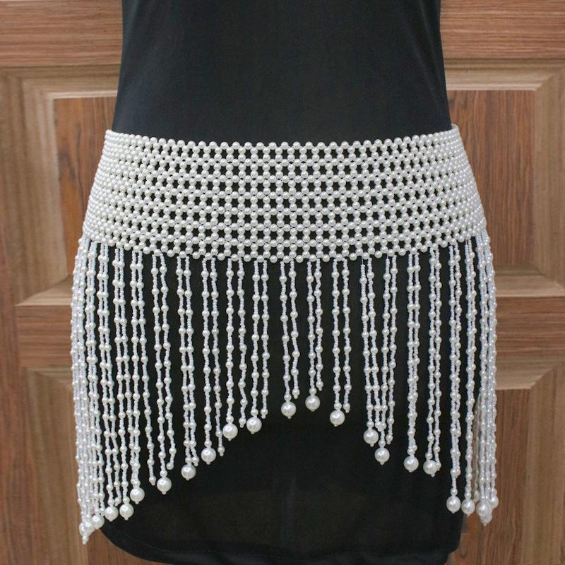 欧美新款时尚珍珠裙子 肚皮舞配饰