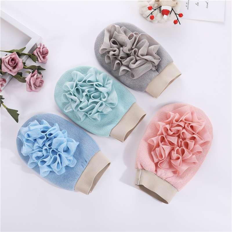 优质环保超柔浴花搓澡手套洗澡神器搓背条