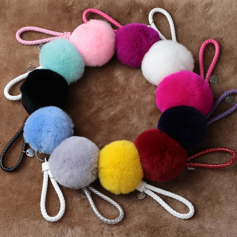 厂家直销獭兔毛毛球9cm大球可爱毛绒玩具包包挂件钥匙链