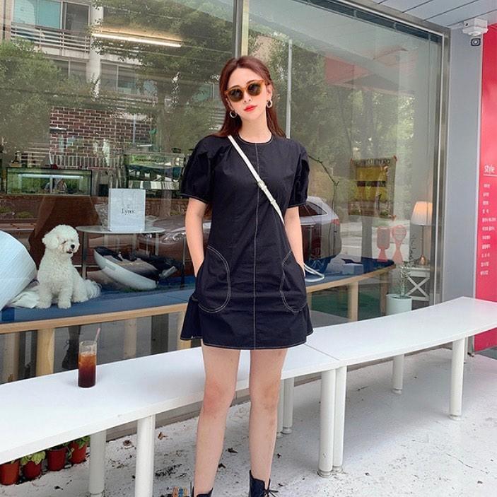 韩国进口简约小黑裙