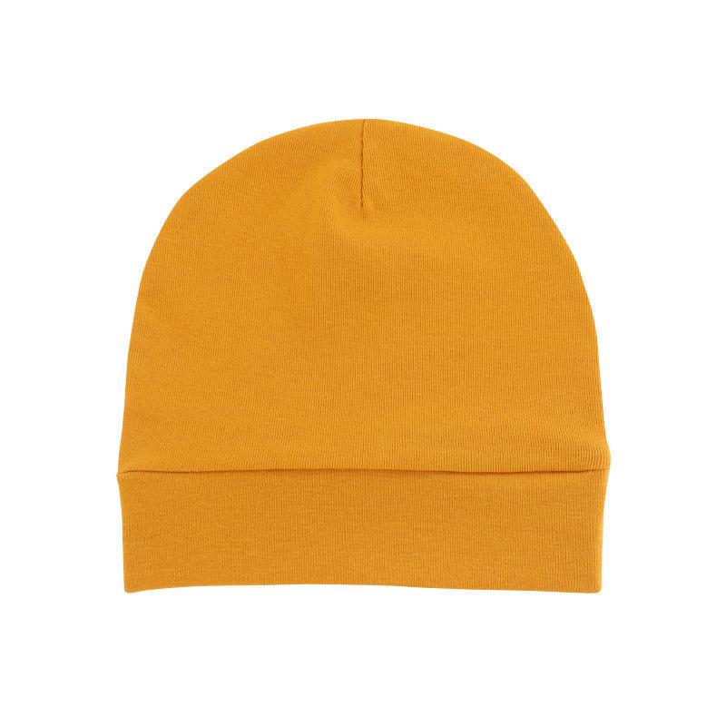 春夏秋新款纯棉宝宝胎帽单层薄款婴幼儿帽子橙色儿童套头帽