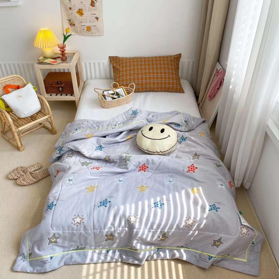 A类双层纱全棉新疆棉花驱蚊儿童卡通印花夏被可水洗